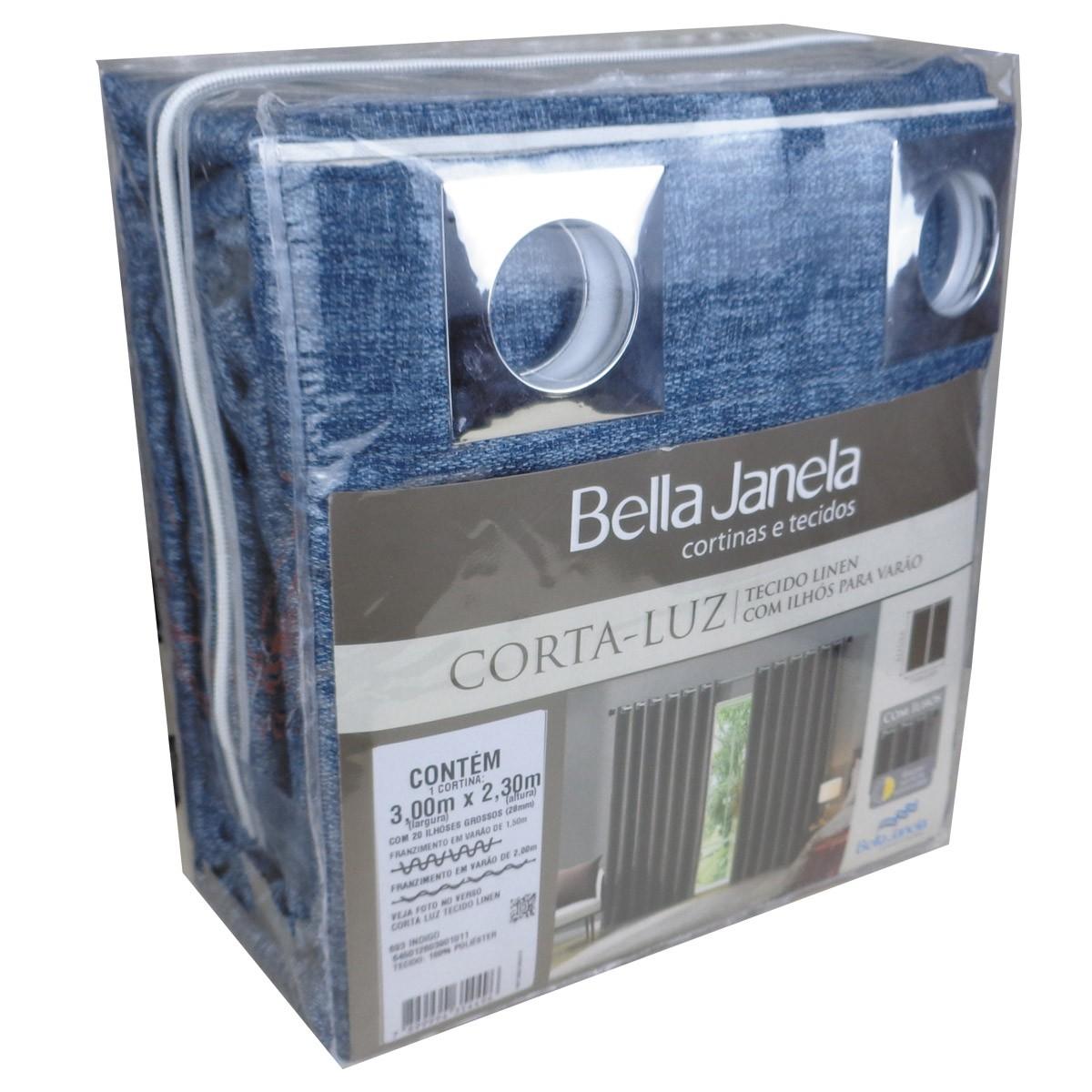 Cortina Blackout Tecido Linen Indigo 3,00 x 2,30 Bella Janela