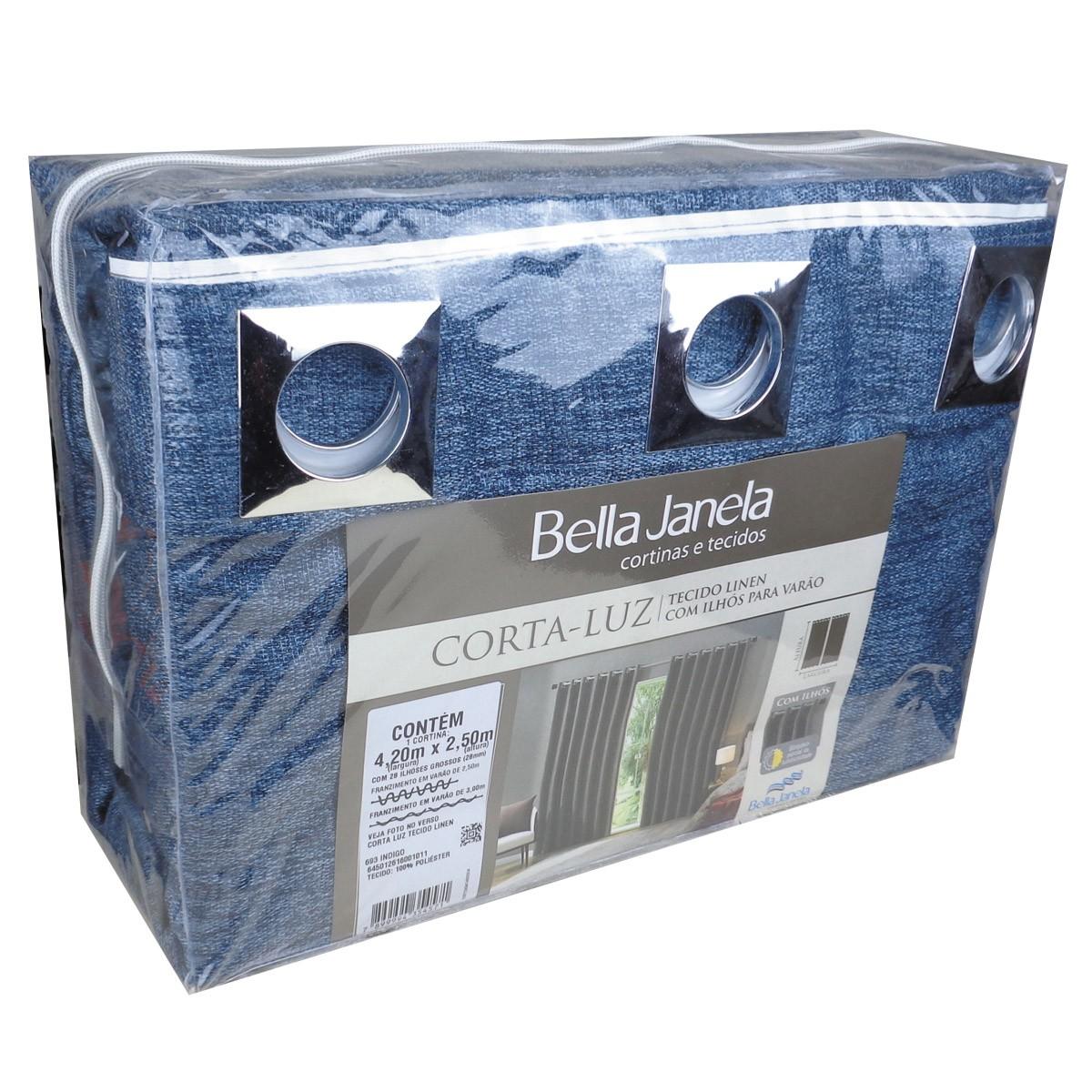 Cortina Blackout Tecido Linen Indigo 4,20 x 2,50 Bella Janela
