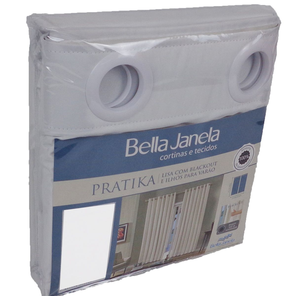 Cortina Branca Em Voil Com Forro Blackout 2,60 x 1,70 Bella Janela