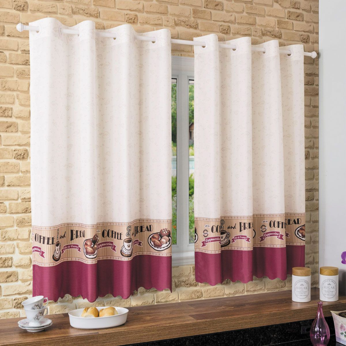 Cortina De Cozinha Allegra Bread 2,60 x 1,20 Bella Janela