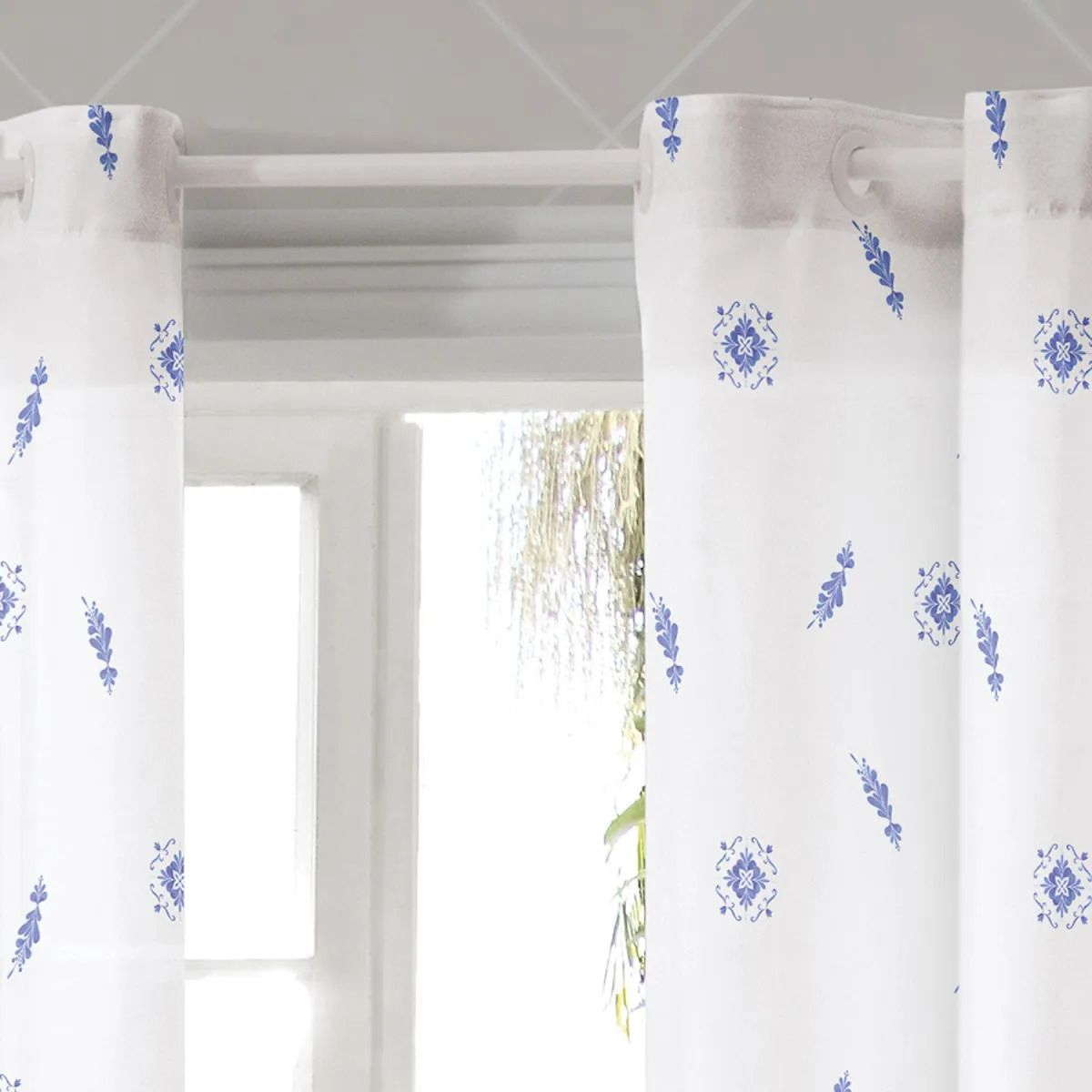 Cortina De Cozinha Allegra Porcelana Azul 2,60 x 1,20 Bella Janela