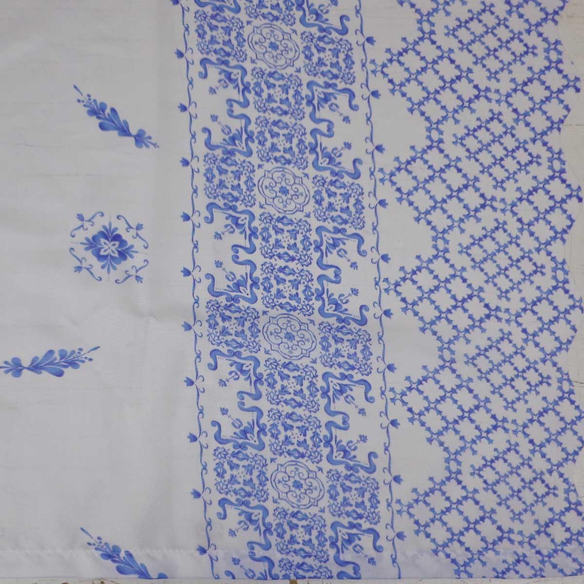 Cortina De Cozinha Allegra Porcelana Azul 2,60 x 1,40 Bella Janela