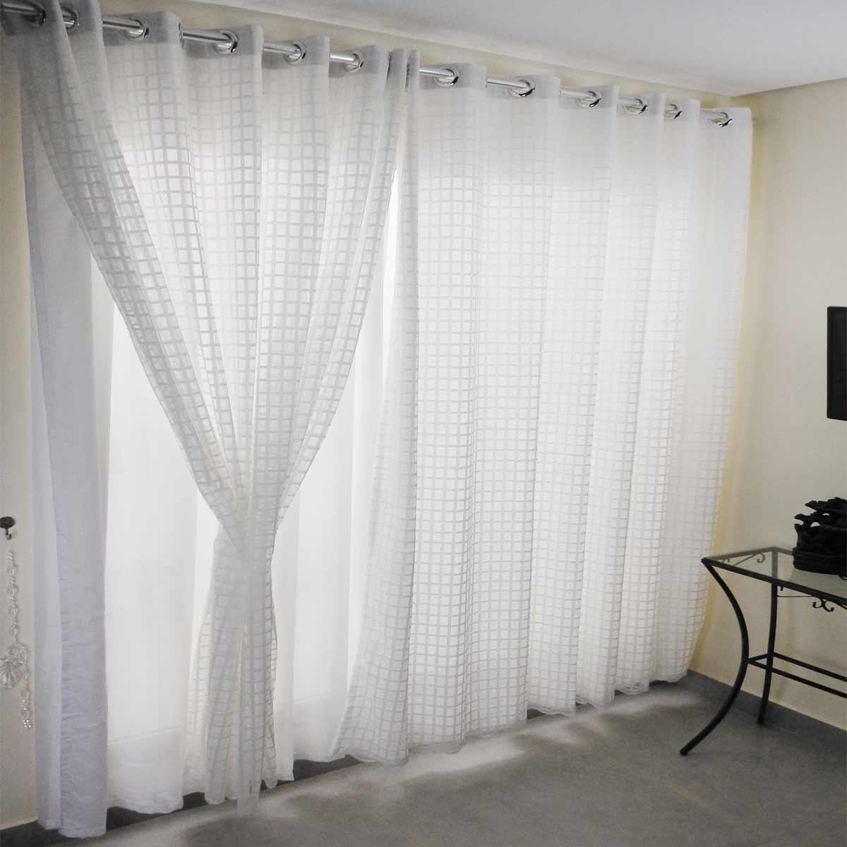 Cortina Duplex 4.20m x 2.50m Vintage / Xadrez Branco Bella Janela