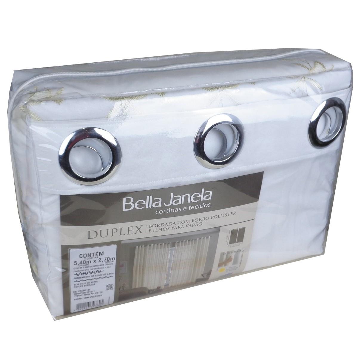 Cortina Duplex Bordada Creme 5,40 x 2,70 Bella Janela
