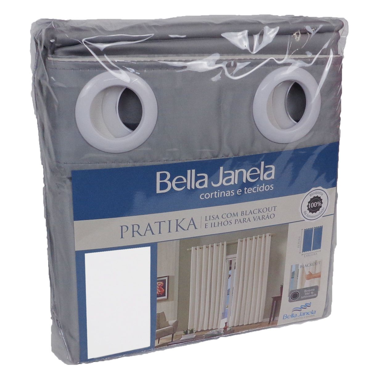 Cortina Em Voil Grafite Com Forro Blackout 2,60 x 2,30 Bella Janela