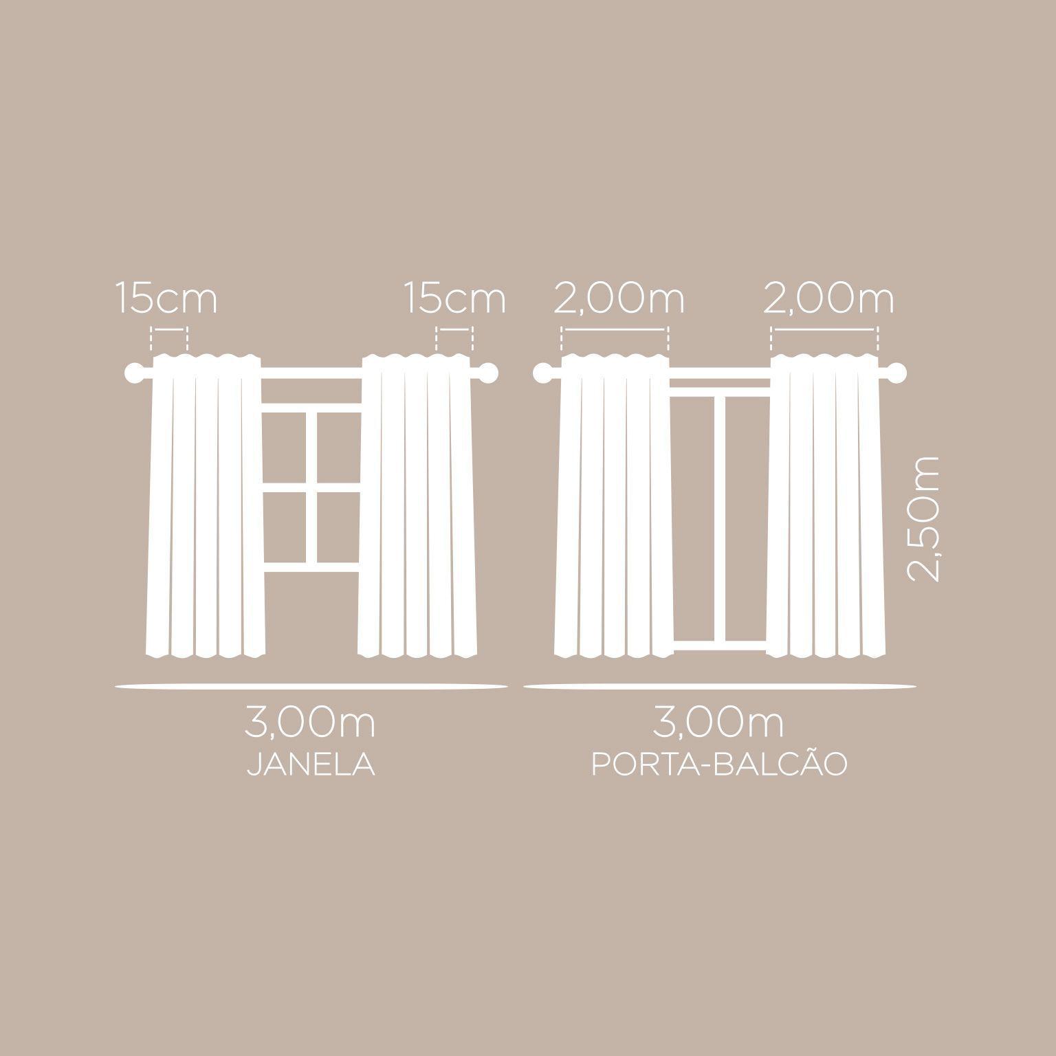 Cortina Essencial Londres Lisa Nude 3,00 x 2,50 Santista