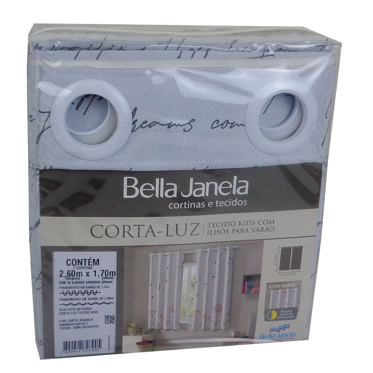 Cortina Infantil Blackout Tecido Carta Branca 2,60 x 1,70 Bella Janela Kids