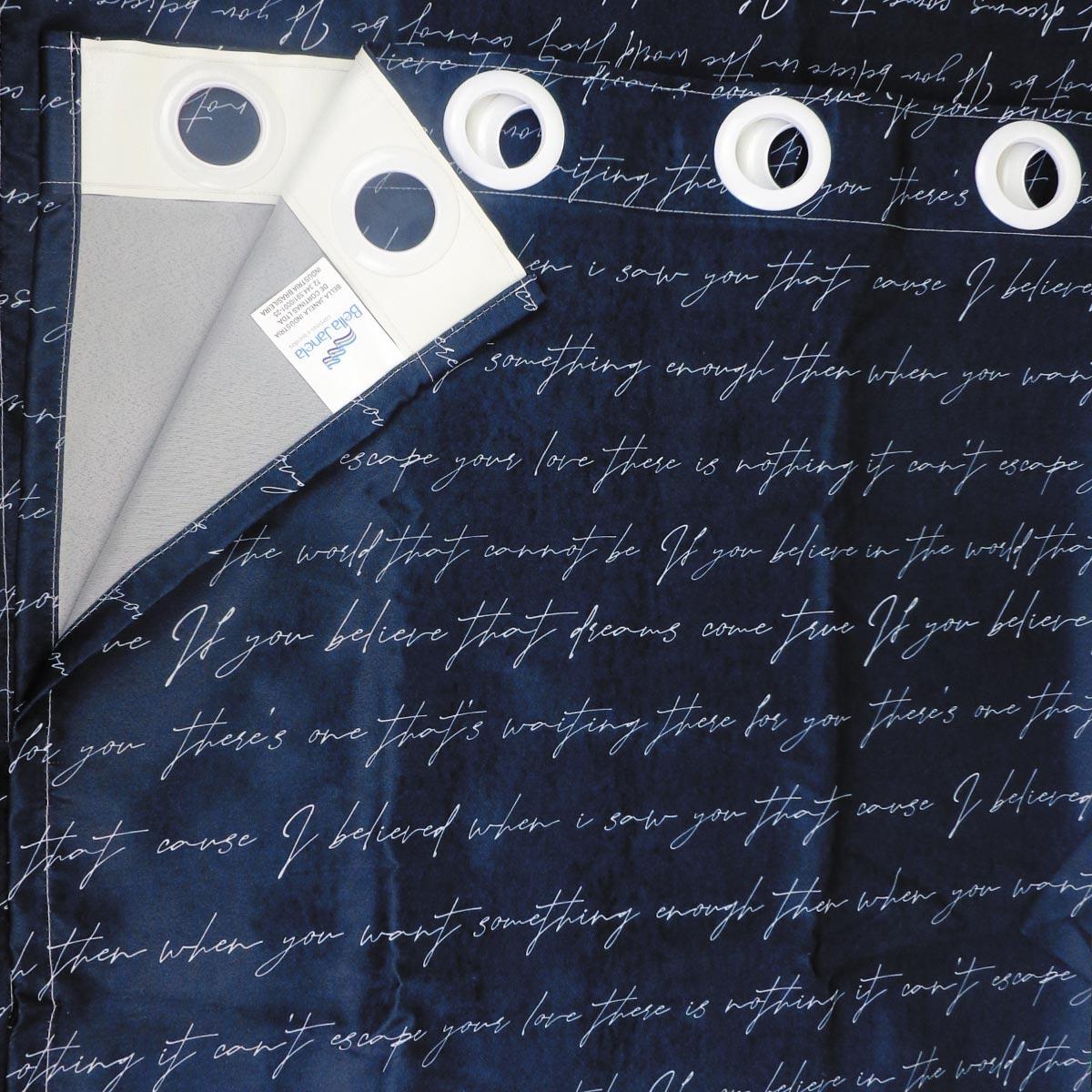 Cortina Infantil Blackout Tecido Carta Preta 2,60 x 1,70 Bella Janela Kids
