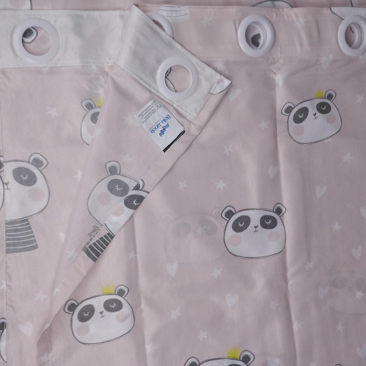 Cortina Infantil Menina Colorê Love Panda 2,60 x 1,70 Bella Janela
