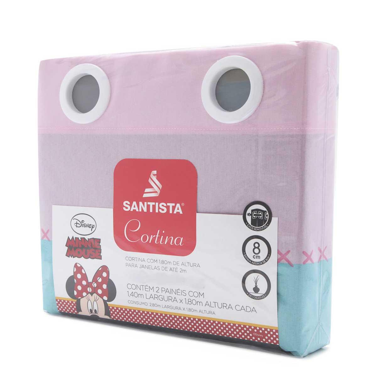 Cortina Infantil Menina Rosa Minnie kitsch 2,00 x 1,80 Santista