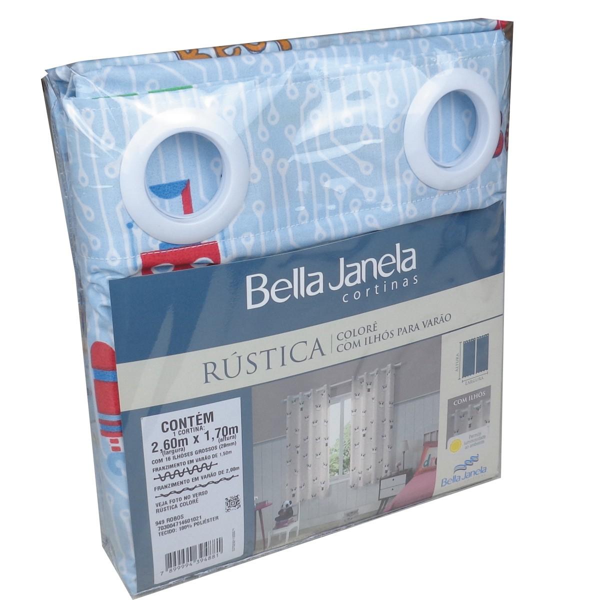 Cortina Infantil Menino Colorê Robôs 2,60 x 1,70 Bella Janela