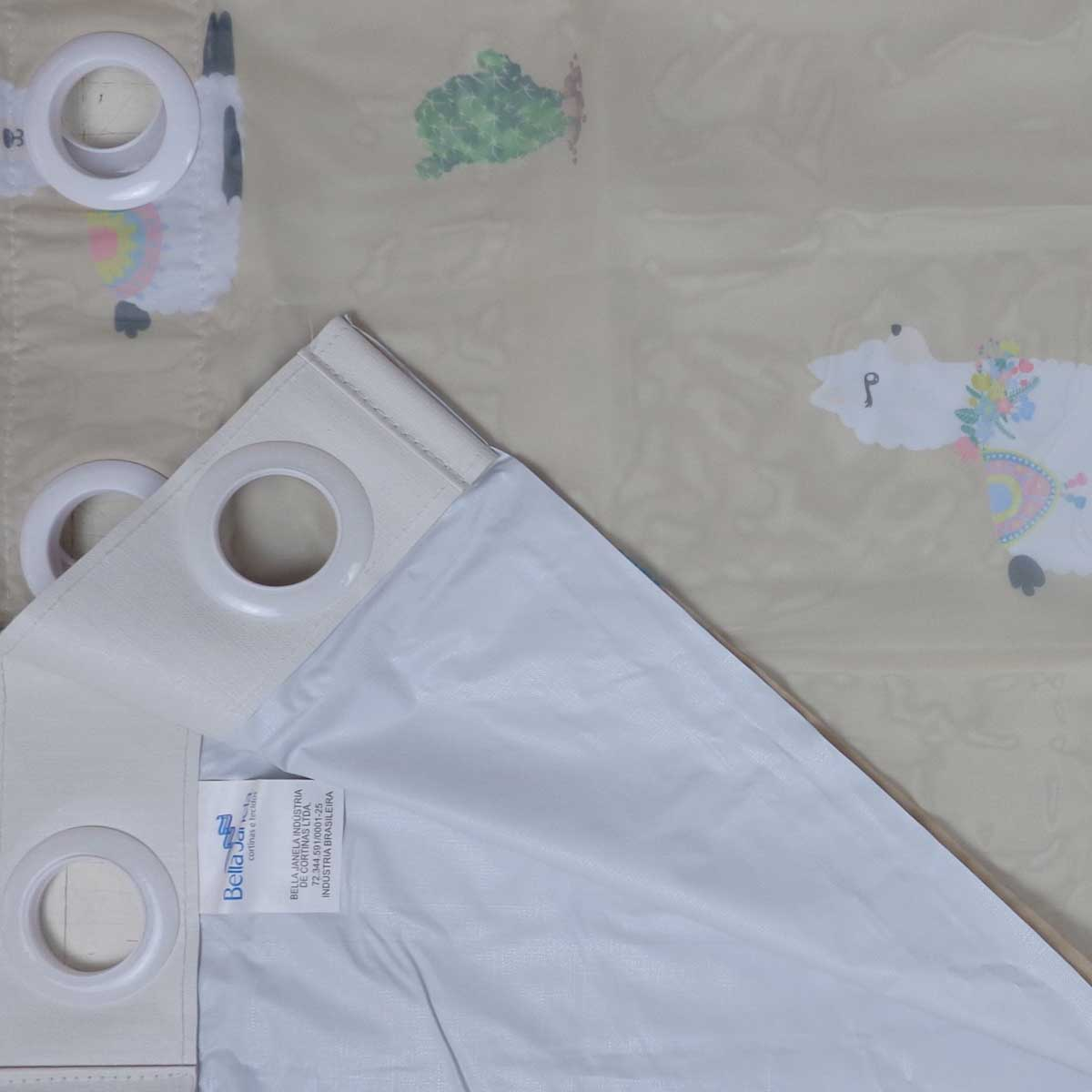 Cortina Infantil Pratika Lhama Com Forro Blackout 2,60 x 1,70 Bella Janela