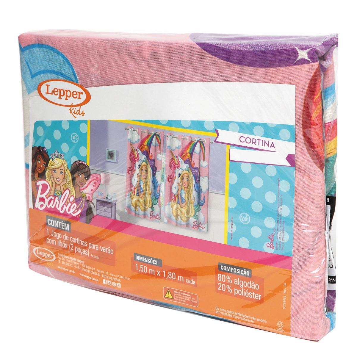 Cortina infantil Rosa Menina Barbie 2,00 x 1,80 Lepper