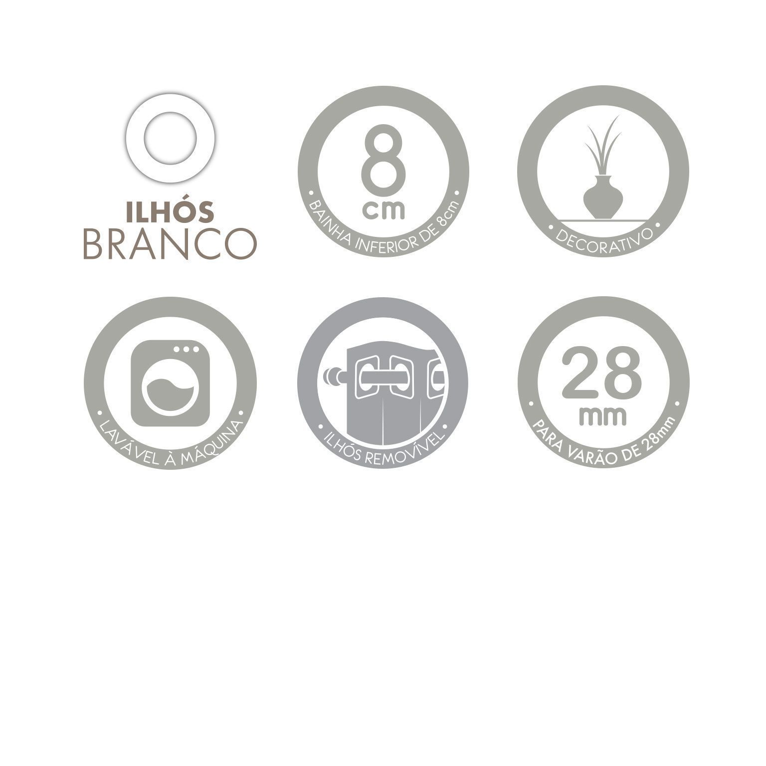 Cortina Londres Branca Com Forro Corta Luz 2,00 x 1,80 Santista