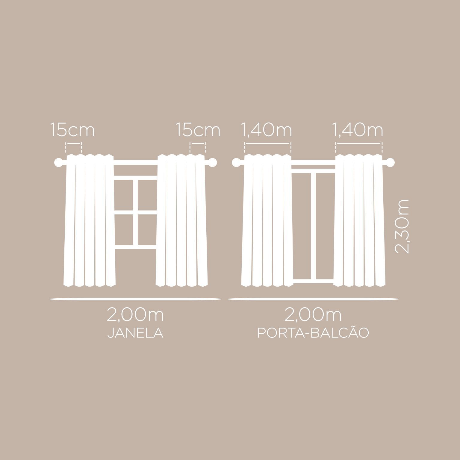 Cortina Londres Lisa Para Sala Nude 2,00 x 2,30 Santista