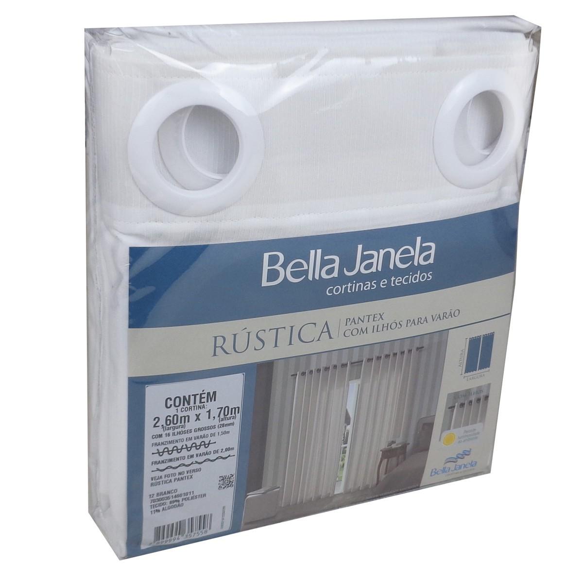 Cortina Para Sala Rústica Pantex Branca 2,60 x 1,70 Bella Janela