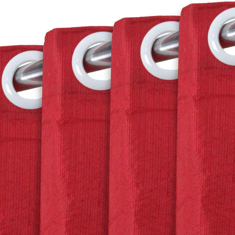 Cortina Rústica New Pantex Vermelha 3,00 x 1,70 Bella Janela