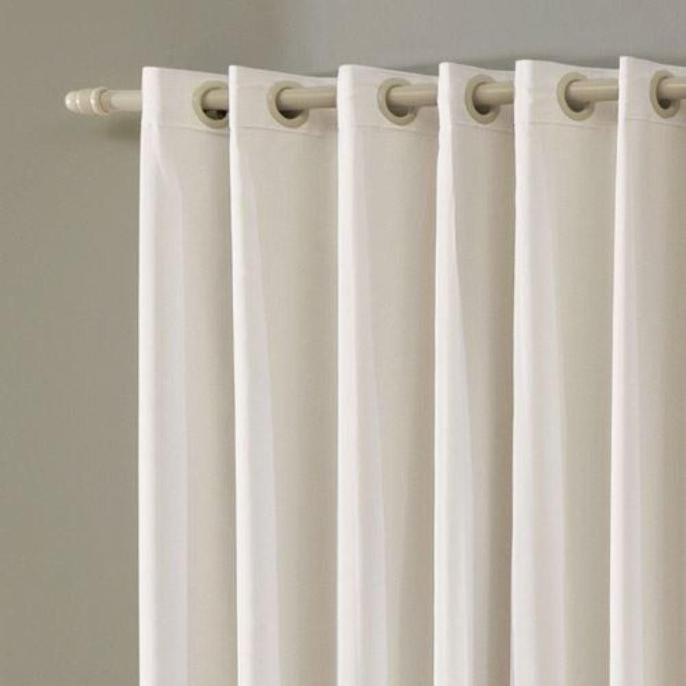 Cortina Em Voil Marfim Com Forro Blackout 2,60 x 1,70 Bella Janela