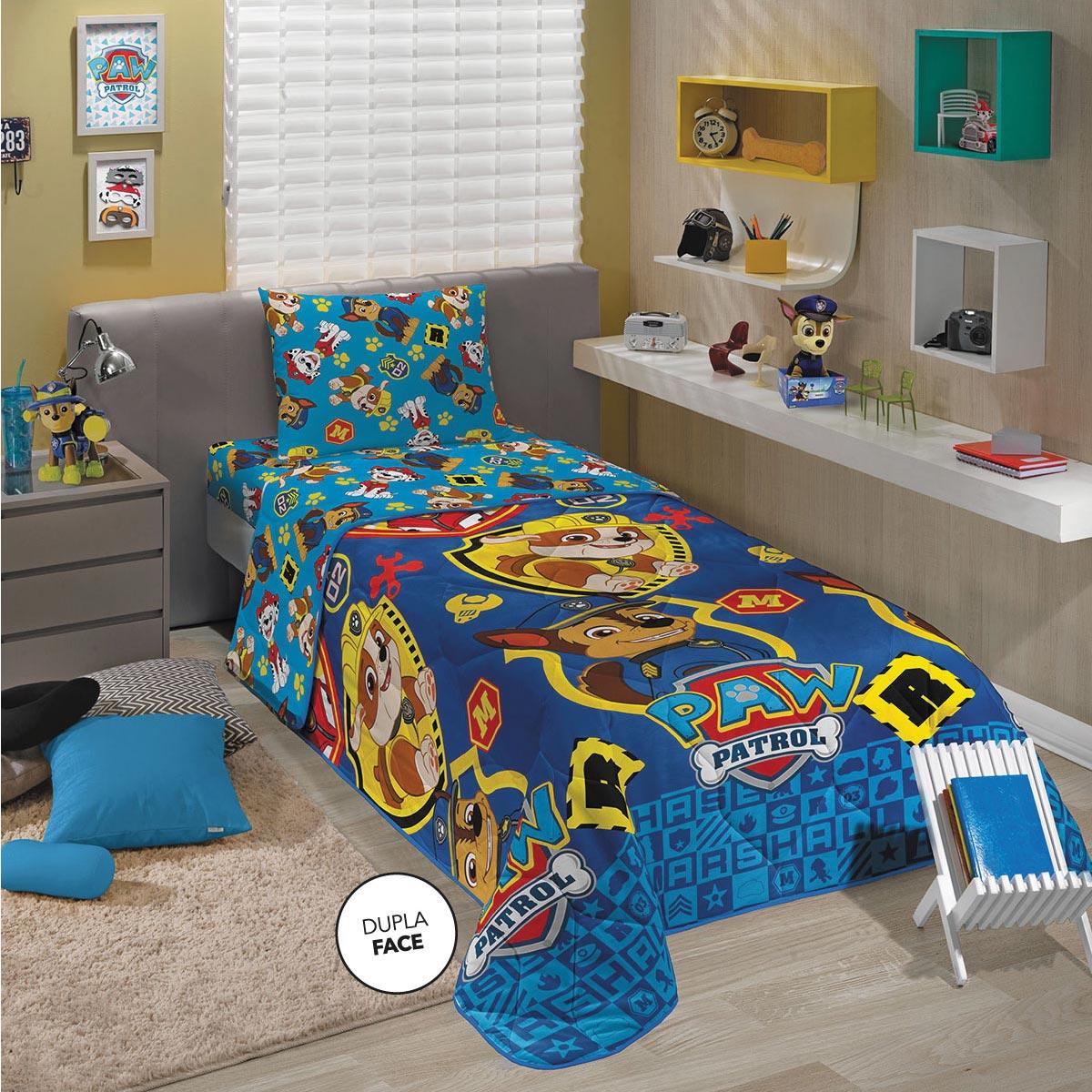 Edredom Infantil Solteiro Patrulha Canina Azul Menino Lepper