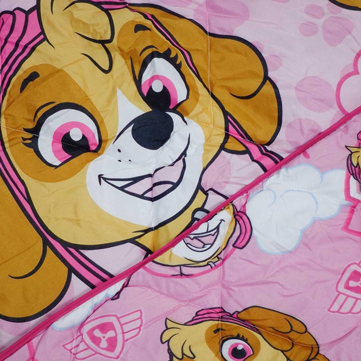 Edredom Infantil Solteiro Rosa Patrulha Canina Menina Lepper