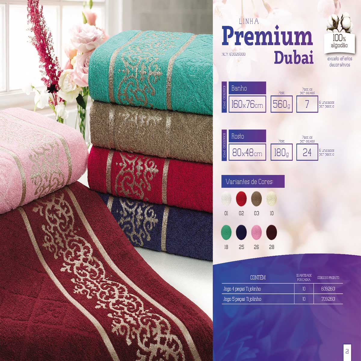 Jogo De Banho 2 Peças Linha Premium Dubai 100% Algodão Mafratex