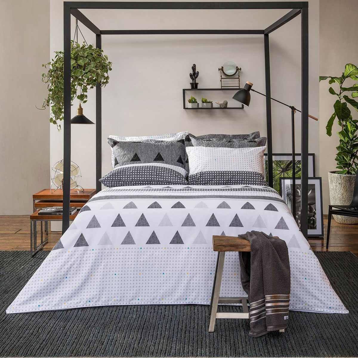 Jogo De Cama Duplo Queen Santista Home Design 100% Algodão Memphis Cinza