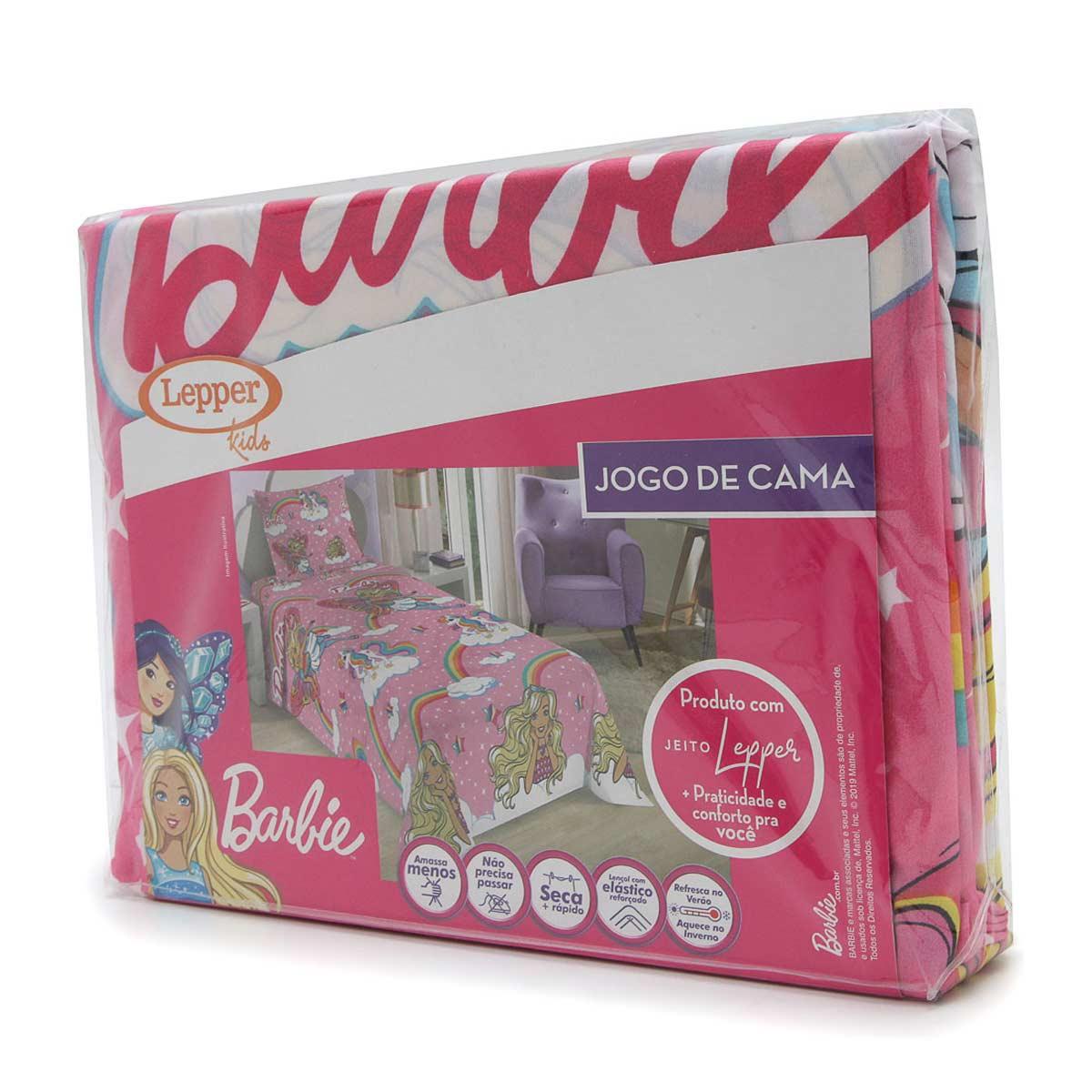 Jogo De Cama Infantil Barbie Rosa 3 Peças Lepper