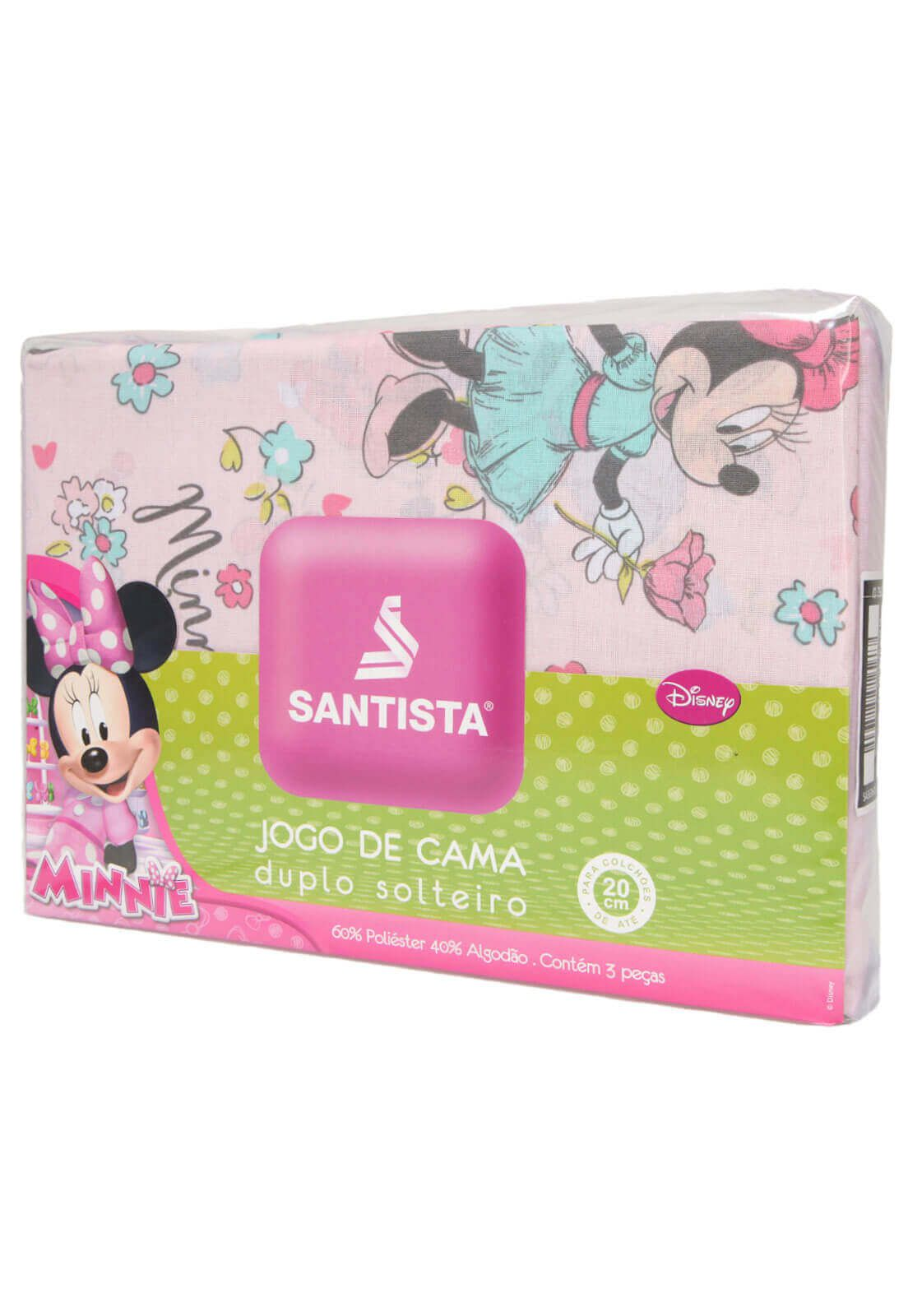 Jogo De Cama Infantil Rosa Minnie Libert 3 Peças Santista