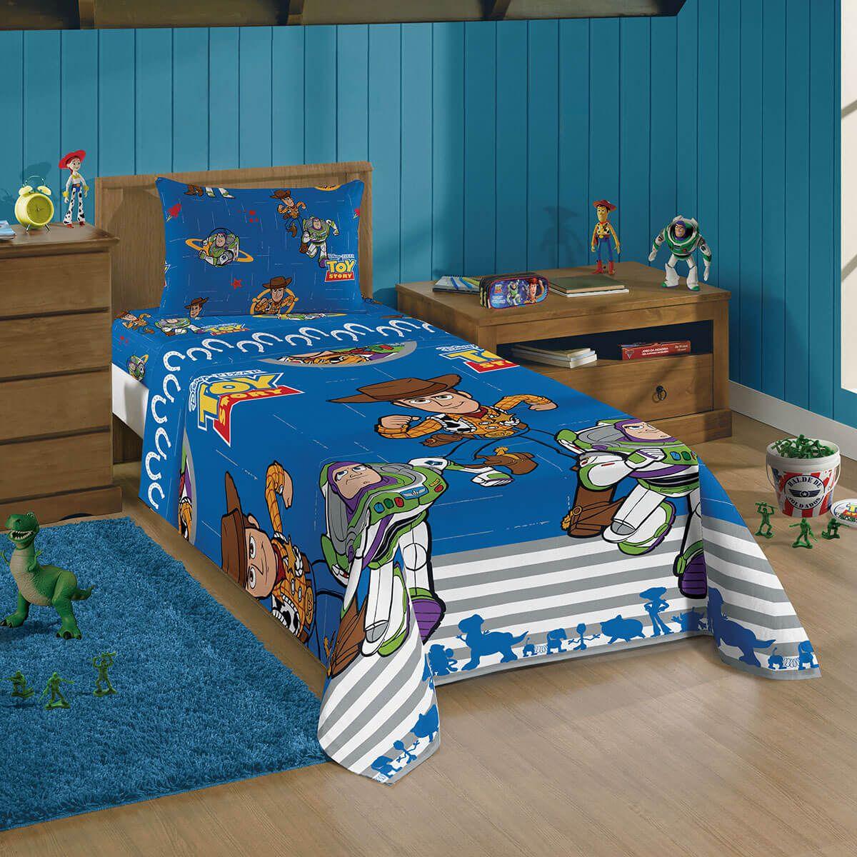 Jogo De Cama Infantil Toy Story Azul Menino 3 Peças Lepper