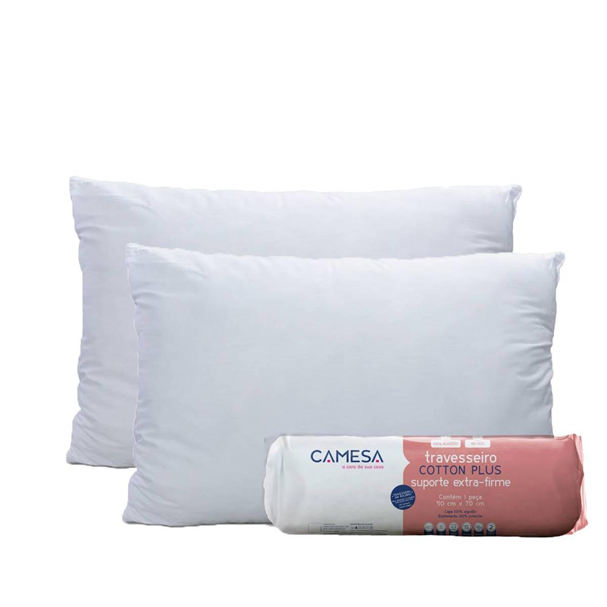 Kit 2 Travesseiros Cotton Plus 180 Fios Rolinho 50X70 Suporte Extra Firme Camesa