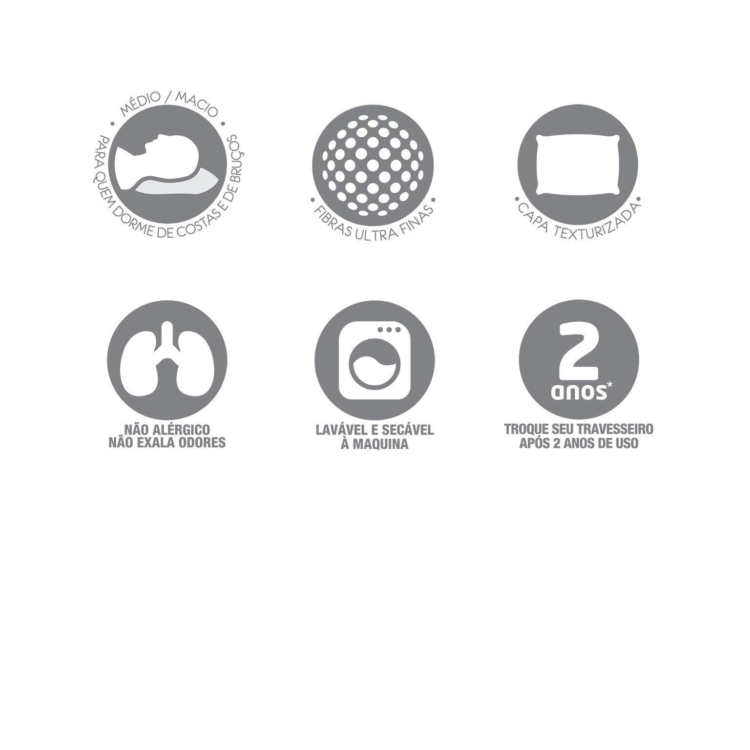 Kit 2 Travesseiros Pluma Alternativa Fibra Siliconada 50 x 70 Santista