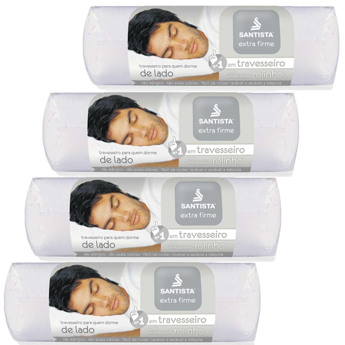 Kit 4 Travesseiros Extra Firme Fibra Siliconada 50 x 70 Santista