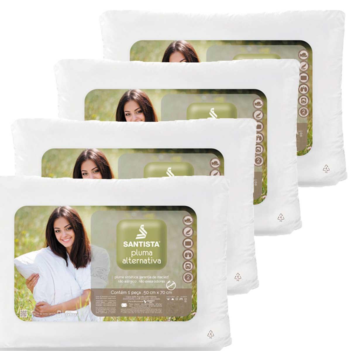 Kit 4 Travesseiros Pluma Alternativa Fibra Siliconada 50 x 70 Santista
