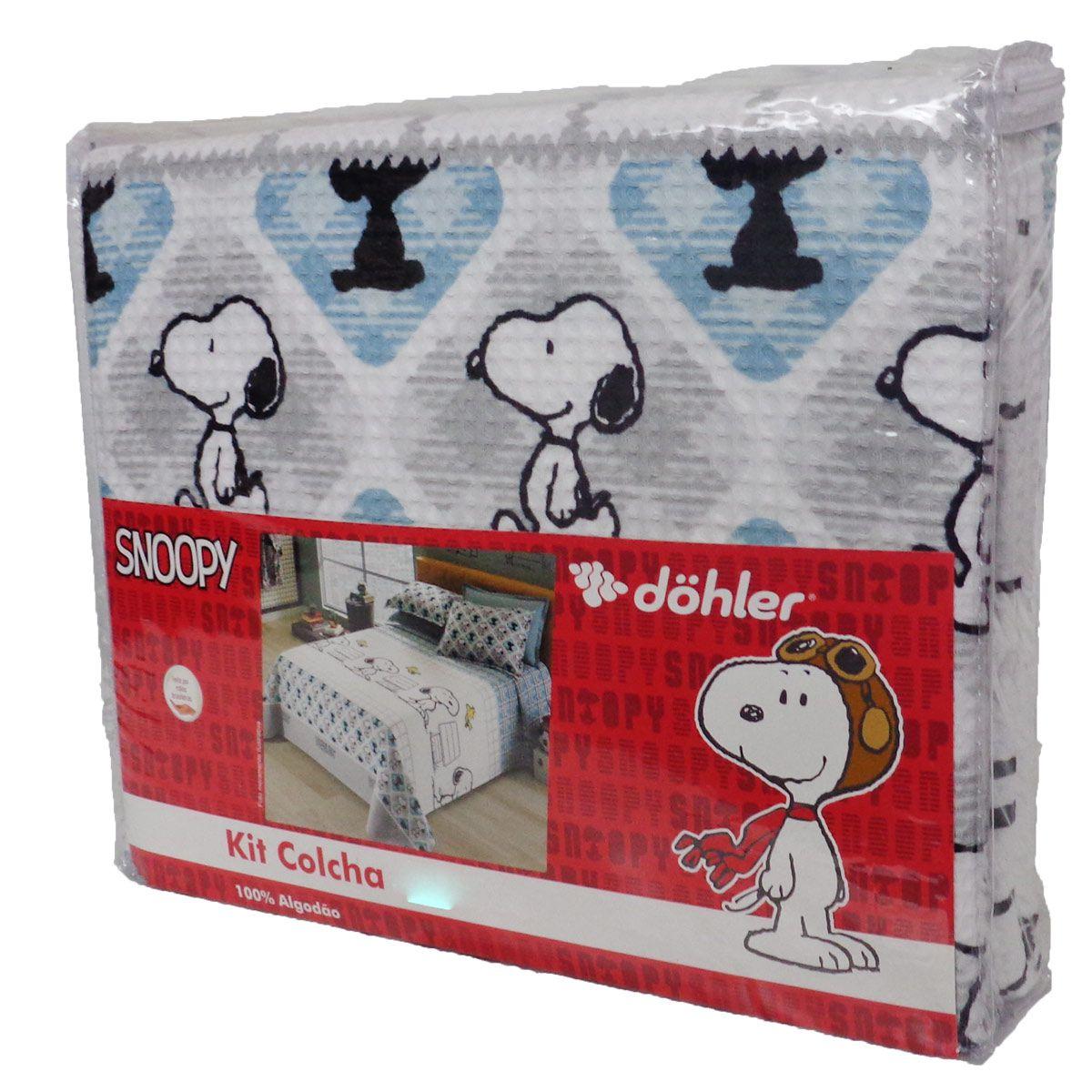 Kit Colcha Casal Piquet Snoopy 3 Peças Algodão Dohler