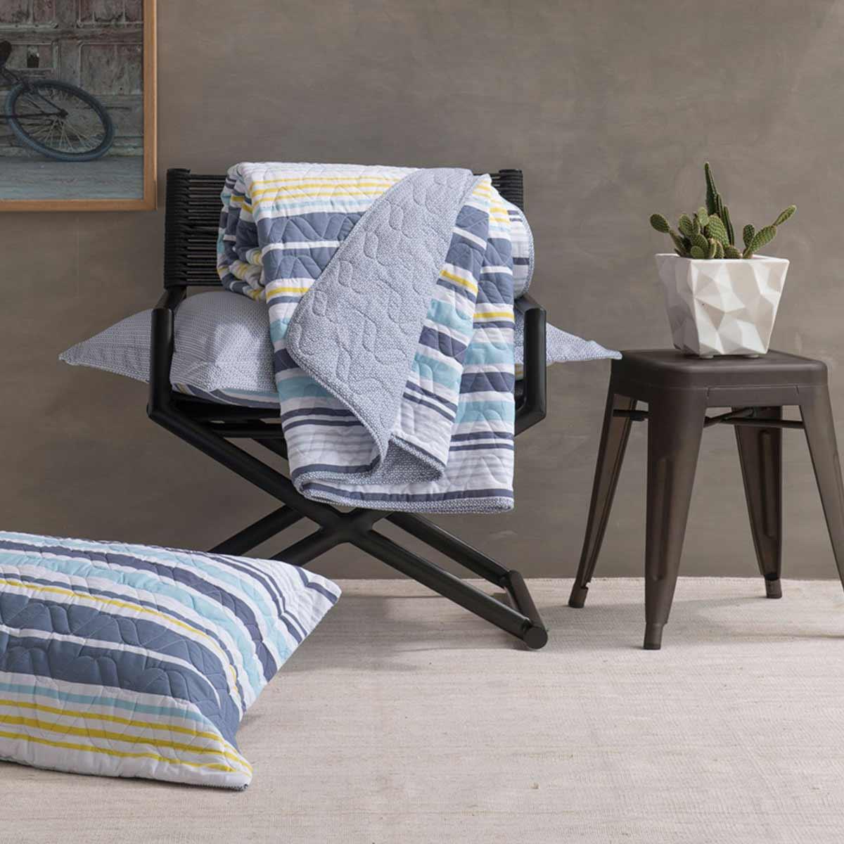 Kit Colcha Queen Size Home Design 100% Algodão Oliver Cinza Santista