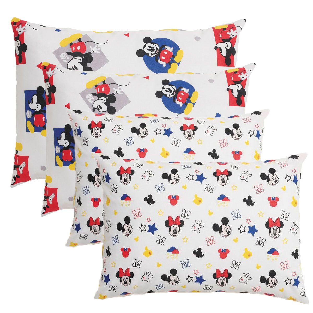 Kit Com 4 Fronhas Infantil Mickey Play E Stick 50 x 70 Santista