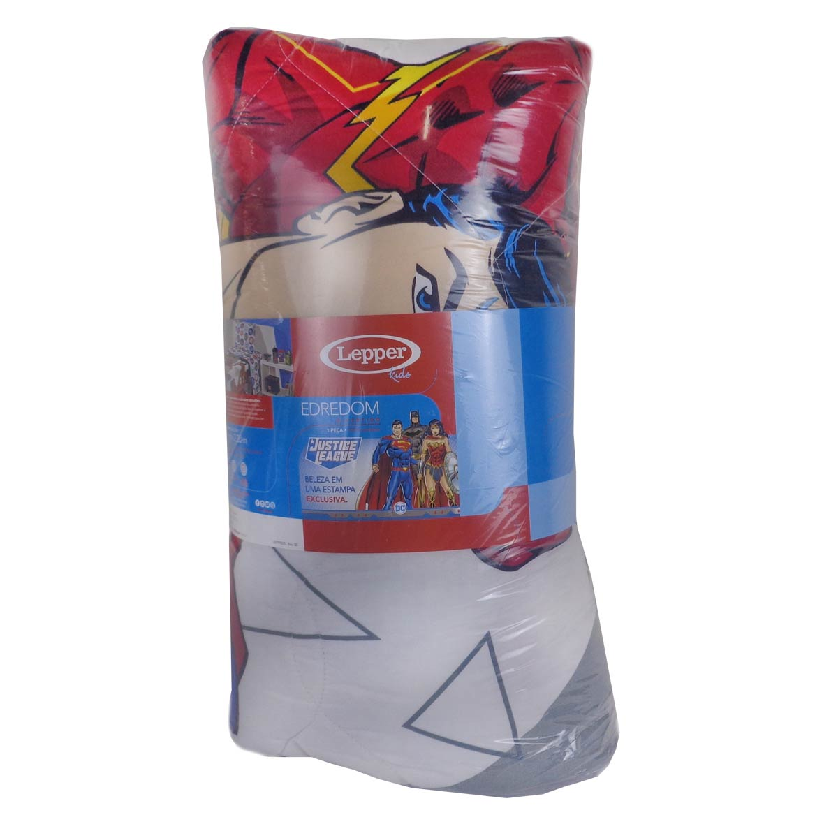 Kit Edredom + Fronha Infantil Liga Da Justiça Menino Azul Lepper