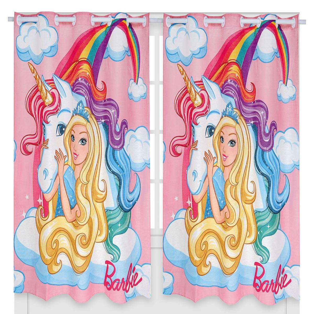 Kit Infantil Barbie Edredom + Cortina + Jogo De Lençol Lepper