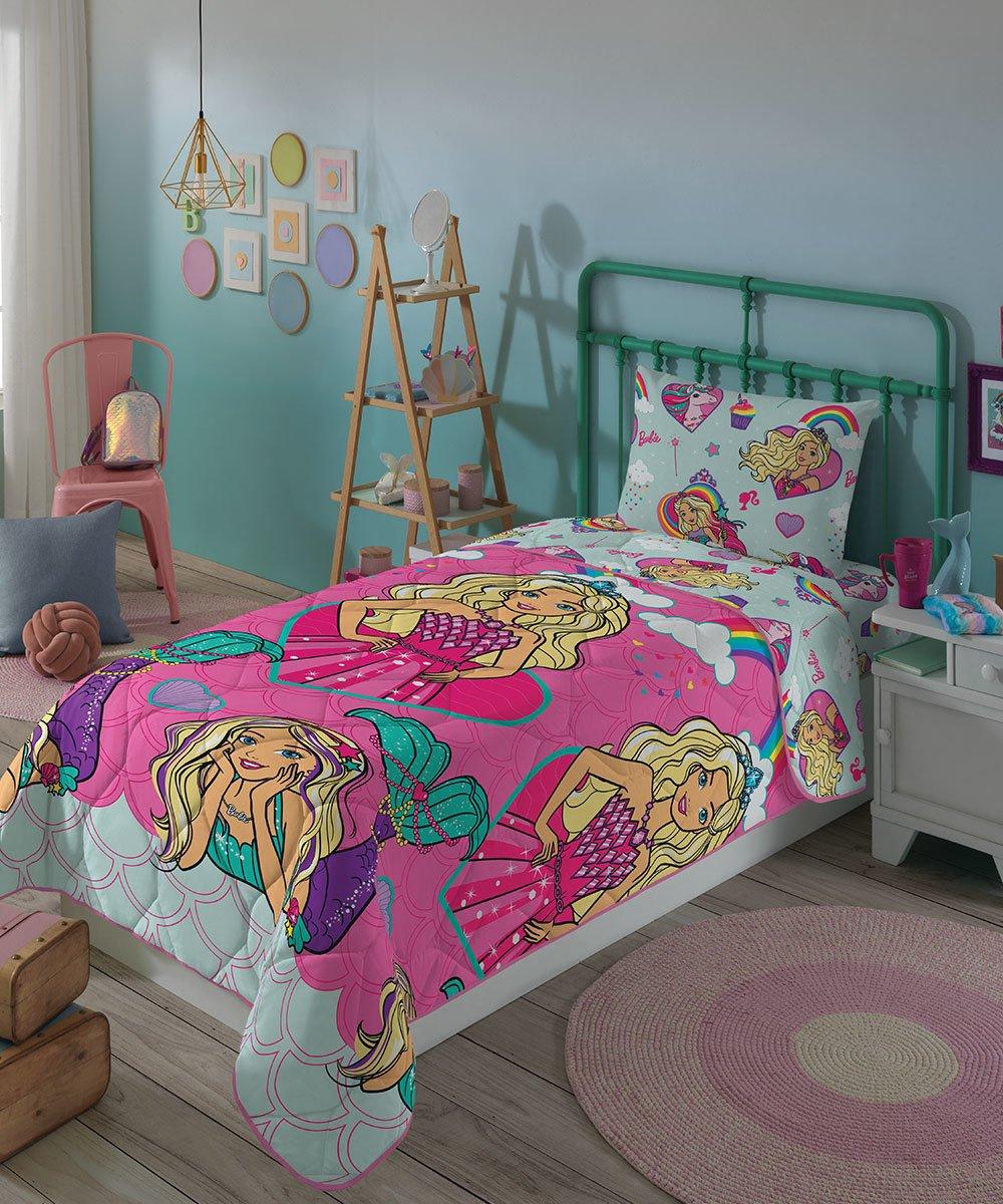 Kit Infantil Barbie Reinos Mágicos Menina Rosa Edredom + Jogo De Cama Lepper