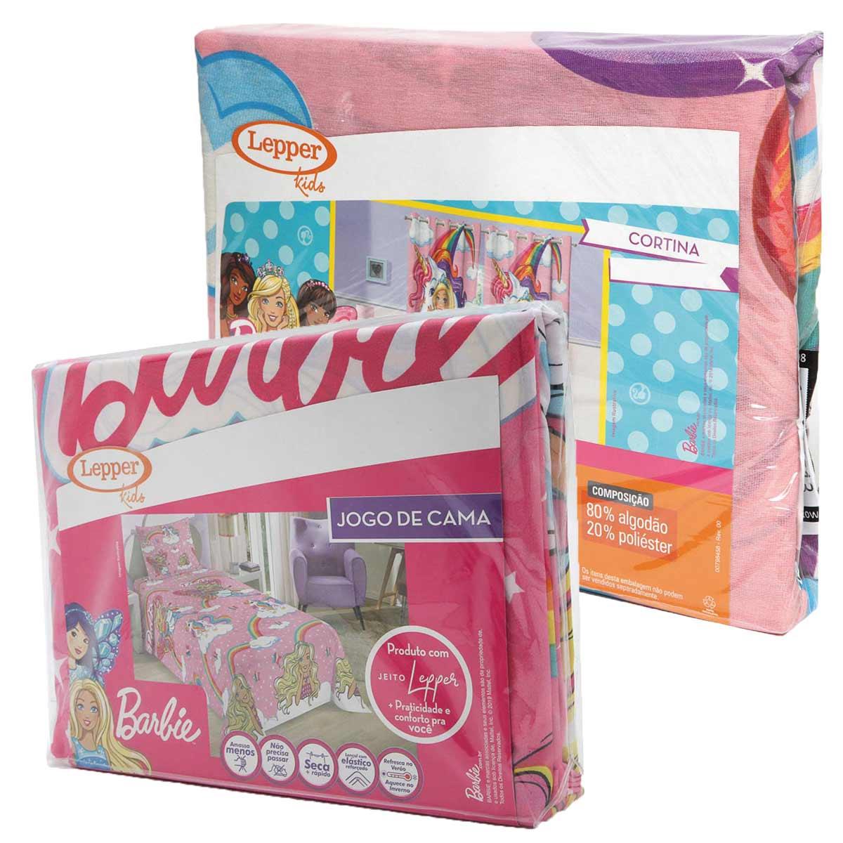 Kit Infantil Barbie Rosa Cortina + Jogo De Lençol 3 Peças Lepper