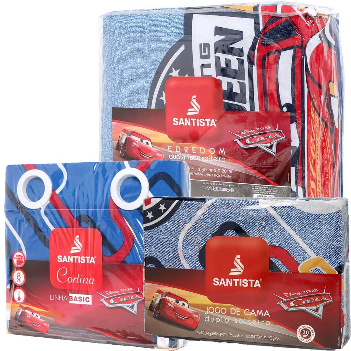 Kit Infantil Carros Cup Mcqueen Edredom + Jogo De Cama + Cortina Santista