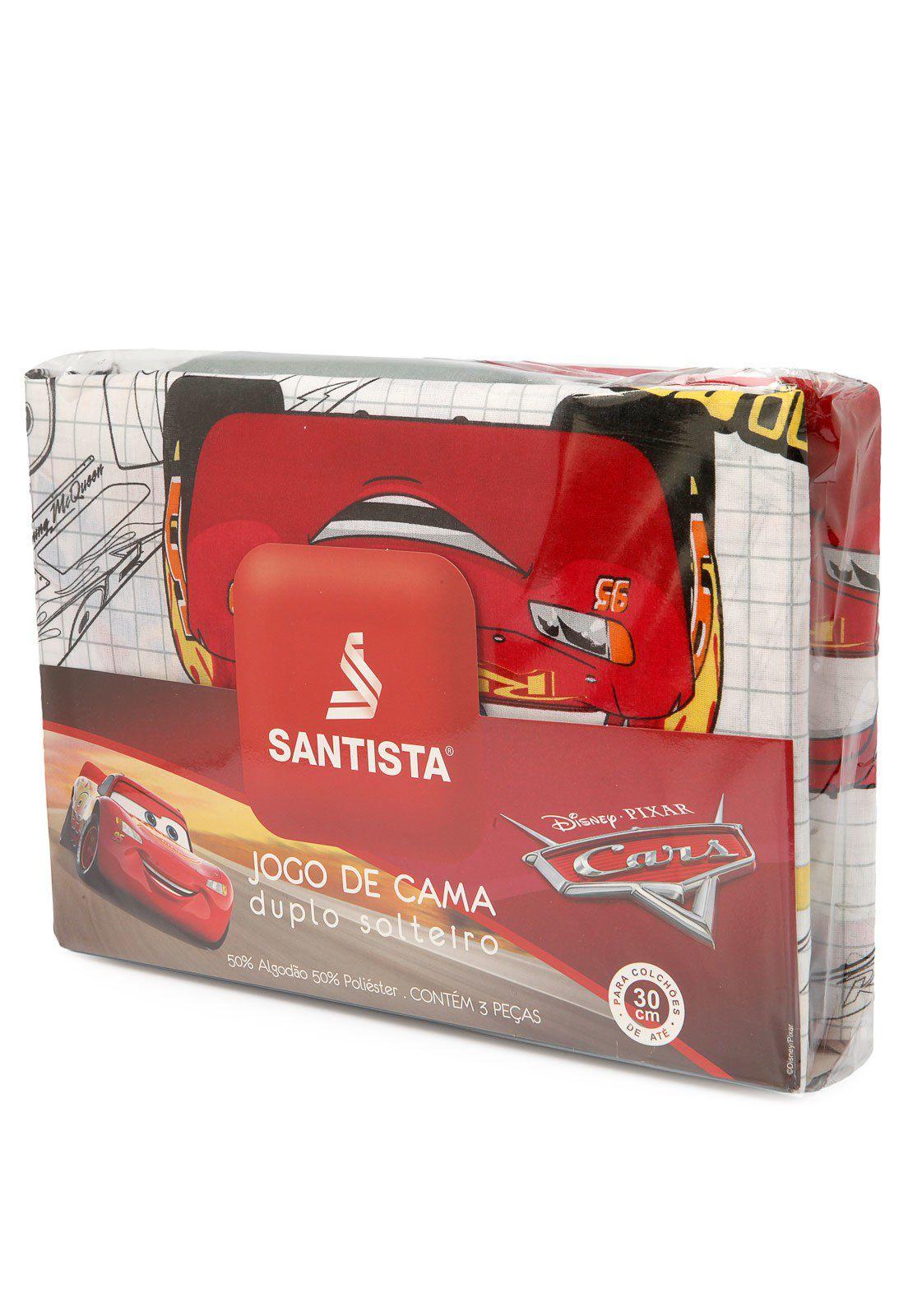 Kit Infantil Carros Mcqueen Edredom + Jogo De Cama + Cortina Blackout Santista