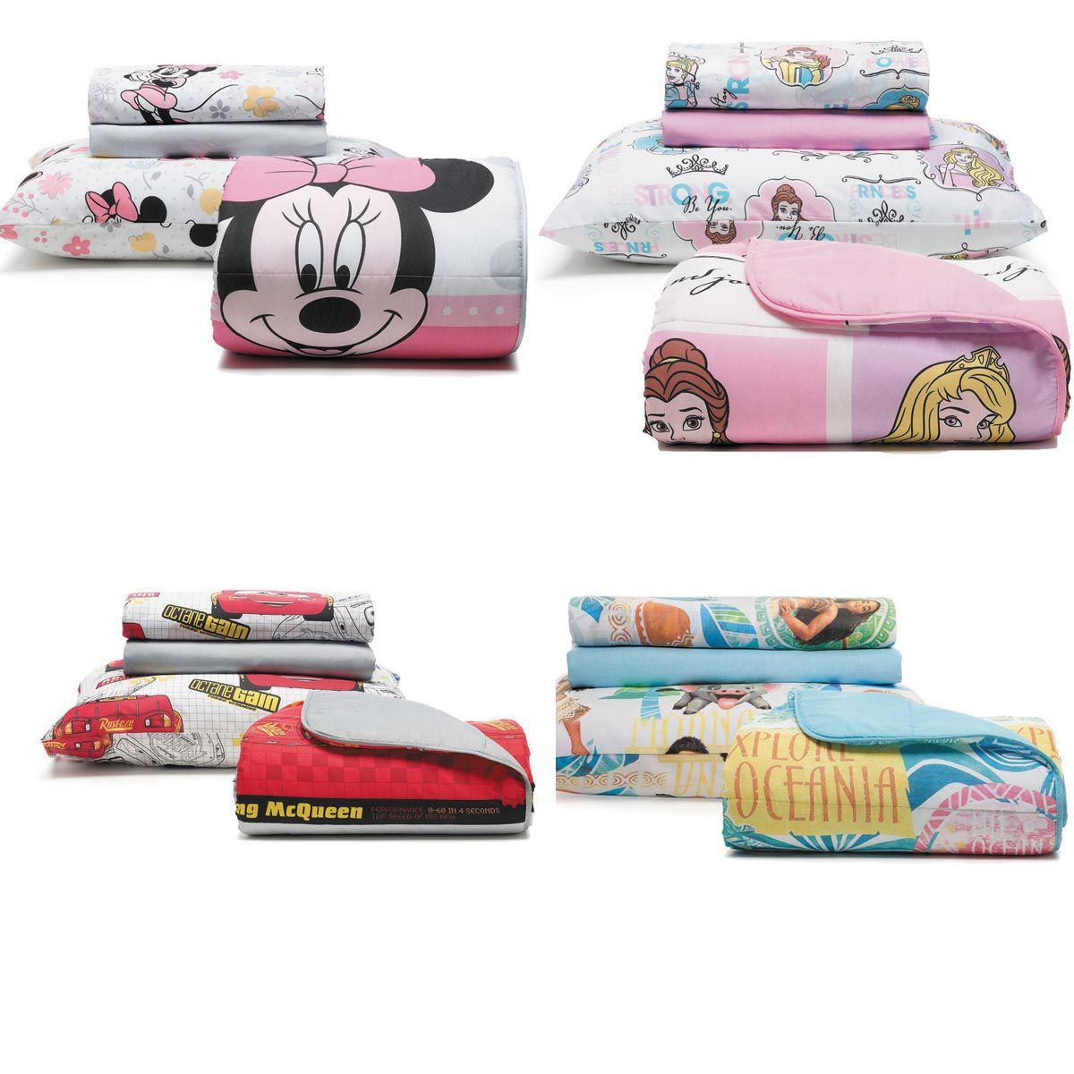Kit Infantil Disney Menino E Menina Edredom + Jogo Cama Santista