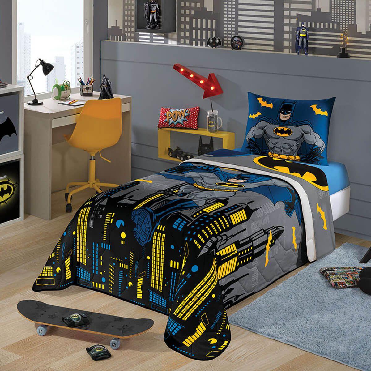 ef60d9b096 Kit Infantil Do Batman Edredom + Jogo De Cama Lepper