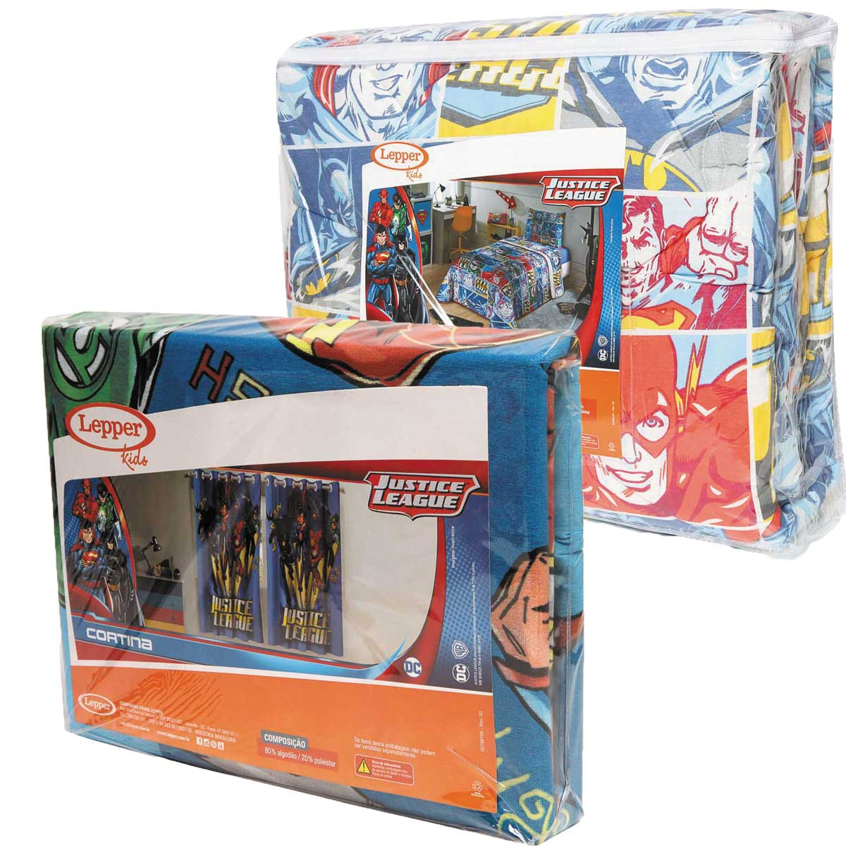 Kit Infantil Edredom + Cortina Liga Da Justiça Azul Lepper