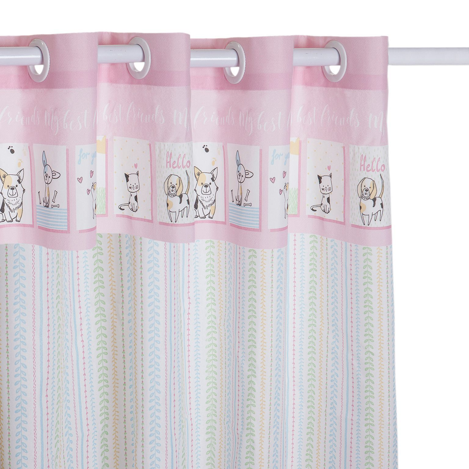 Kit Infantil Friends Rosa Colcha Boutis + Cortina Santista