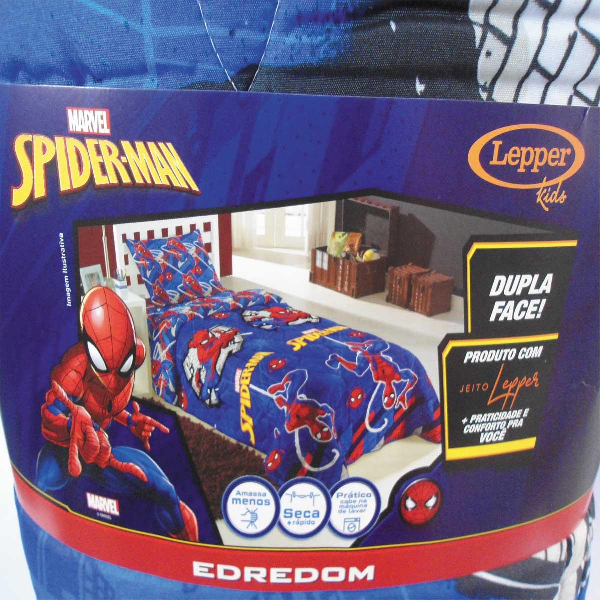 Kit Infantil Homem Aranha Spider Man Edredom + Cortina Lepper