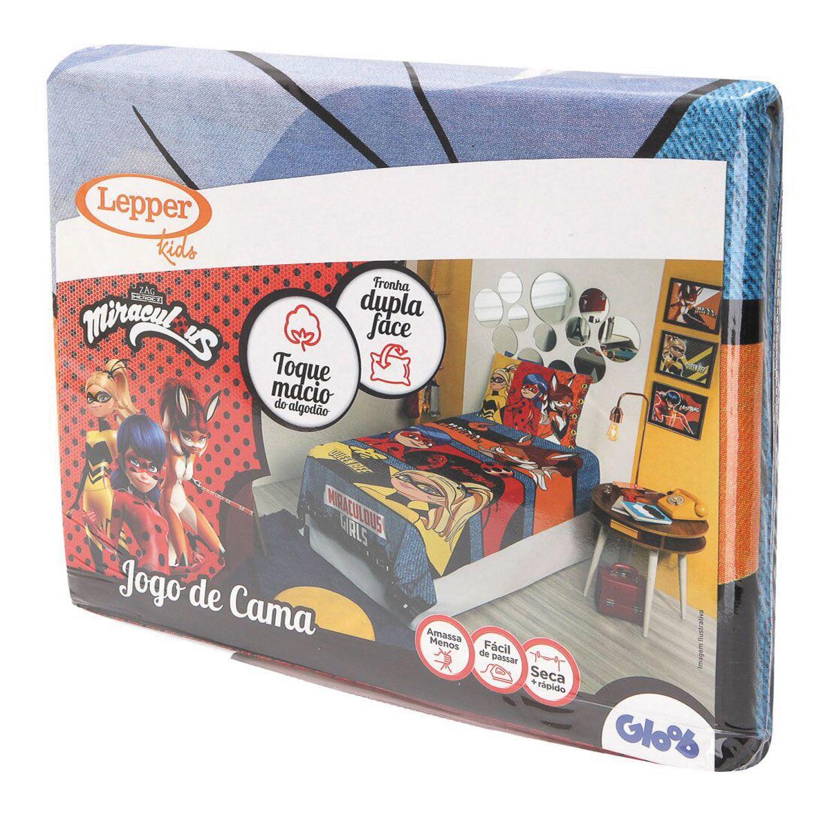 Kit Infantil Ladybug Miraculous Jogo De cama + Cortina Lepper