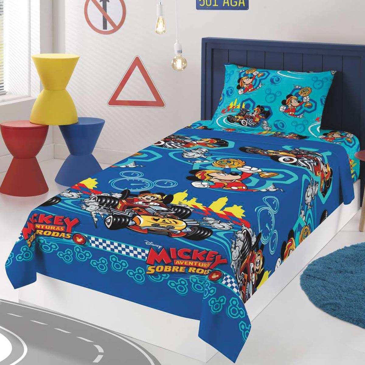 Kit Infantil Menino Manta E Jogo De Cama Mickey Azul