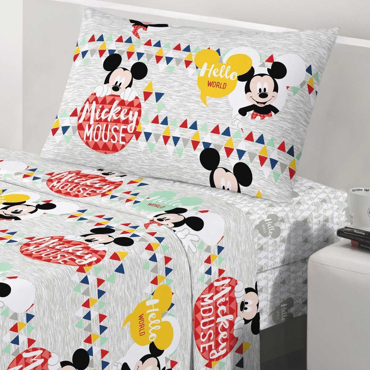 Kit Infantil Menino Mickey Geo Cortina Blackout + Jogo Cama Santista
